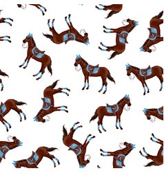 seamless pattern with bay horses running horses vector image