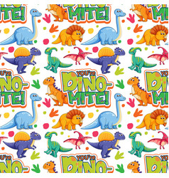 seamless pattern with cute dinosaurs and font vector image