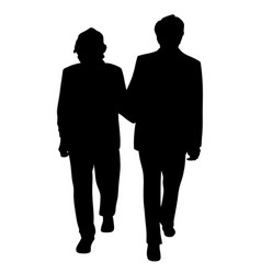senior couple walking arm in arm vector image