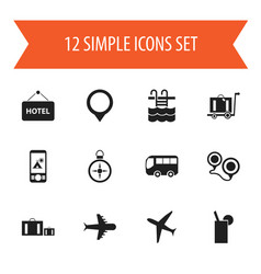 set of 12 editable trip icons includes symbols vector image