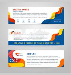 set of abstract horizontal banner vector image