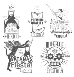 set tequila labels in vintage style vector image