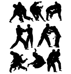 Silhouettes judo athletes vector