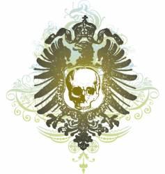Skull banner heraldic illustration vector