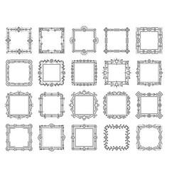 square text frame simple line monogram set vector image