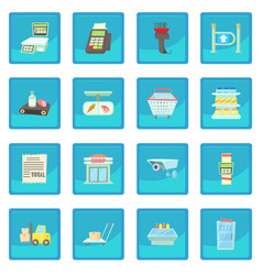 Supermarket items icon blue app vector