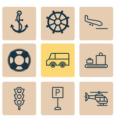 transportation icons set with copter luggage vector image