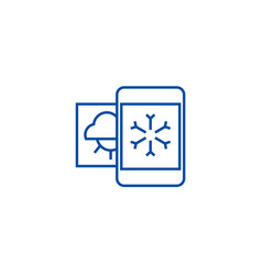weather mobile smartphone line icon concept vector image