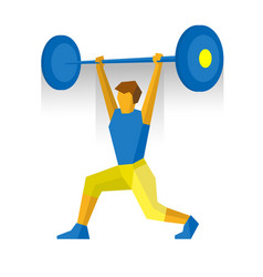 Weightlifter rise barbell vector