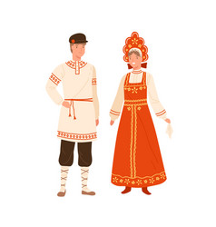 Woman and man wearing russian national costume vector