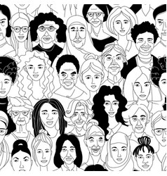 Womens diversity head portraits line drawing vector