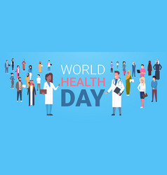 World health day poster with male and female vector