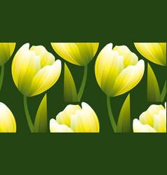 yellow and green realistic flower tulip vector image