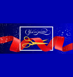 You are invited sparkling banner design with vector