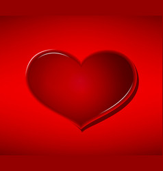 glass heart on red background valentines day vector image