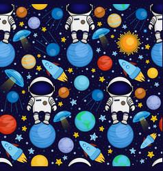 seamless cartoon space pattern vector image
