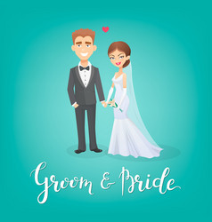 cartoon bride and groom this vector image vector image