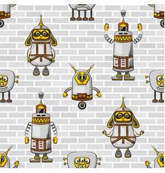 cartoon robots seamless vector image vector image