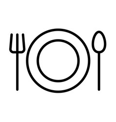 plate fork and spoon line icon restaurant sign vector image