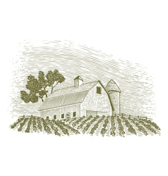 Woodcut Barn and Silo vector image vector image