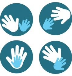 children and parent hands vector image vector image