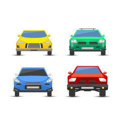 flat car vehicle type design front view style vector image vector image