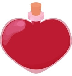 Pink glossy heart shape bottle of love potion vector image