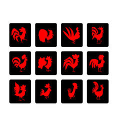 red rooster set symbol of 2017 new year vector image