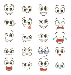 Cartoon happy faces with different expressions vector