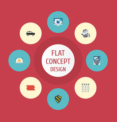 flat icons camera walkie-talkie vision and other vector image