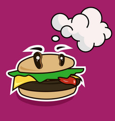 funny cartoon cheese burger with speech bubble vector image