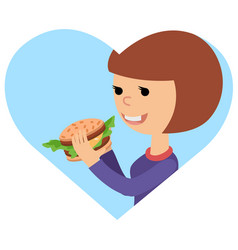girl eating sandwich on theme vector image vector image