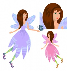 girl fairy with butterfly vector image vector image