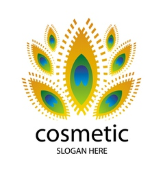 Logo for cosmetics in the form of a peacock vector