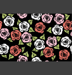 seamless floral pattern with rose flowers vector image vector image