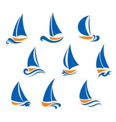 Yachting and regatta symbols vector image vector image