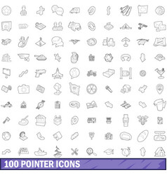 100 pointer icons set outline style vector