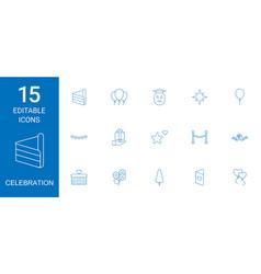 15 celebration icons vector image