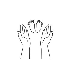 Adult hands and child feet vector