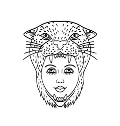 Amazon warrior wearing a jaguar headdress tattoo vector