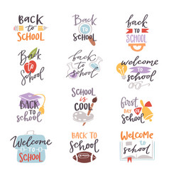 back to school logo badge lettering design text vector image
