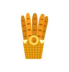 baguettes in wooden basket bakery shop vector image