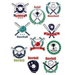 Baseball game retro emblems and icons vector image