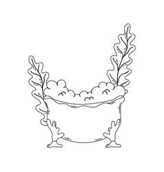 Bathtub with seaweed icon vector