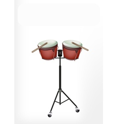 Beautiful Bongo Drum with Sticks on Stand vector