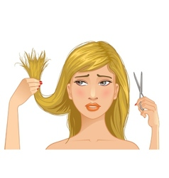 Beautiful sad girl with problem of split ends vector image