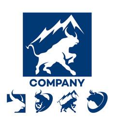 blue bull logo vector image