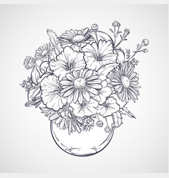 Bouquet of chamomile flowers and petunias vector