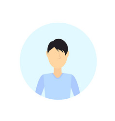 Brunette man avatar isolated faceless male cartoon vector