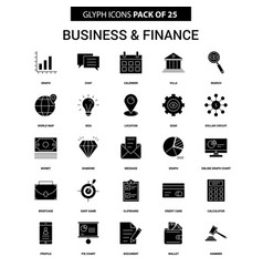 business and finance glyph icon set vector image